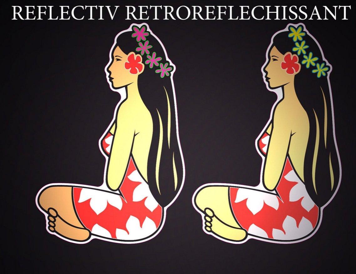 SAFIRMES 2X Autocollants Stickers Hinano Tahiti Vahine REFLECHISSANTS