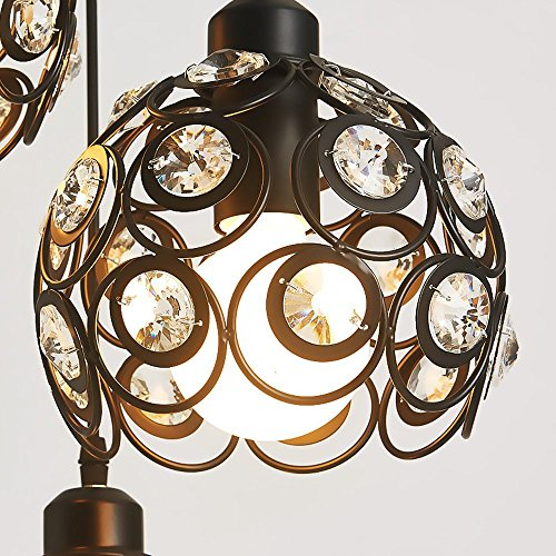 YANCEN Antique Black Metal Crystal Chandelier Lighting Hollow Pendant Light Ceiling Lamp Fixture E26 Bulb Painted Finish for Dining Room Bar Island by YANCEN (Image #6)