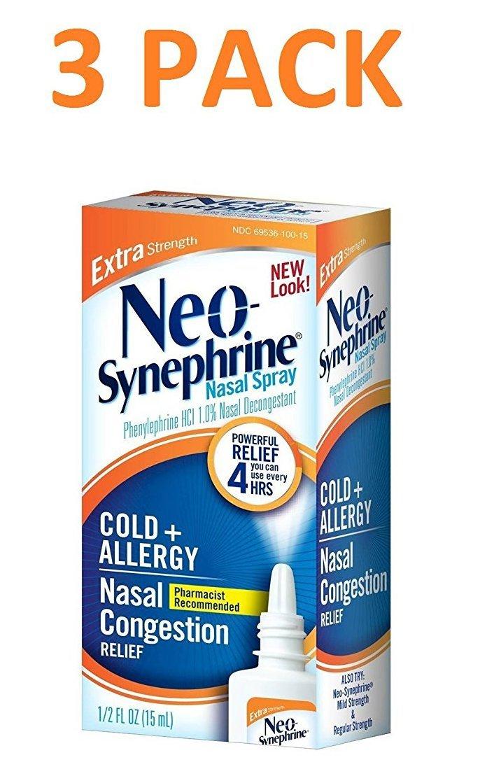 Neo-Synephrine Nasal Spray , Extra Strength Formula, 0.5-Ounce (Pack of 3)