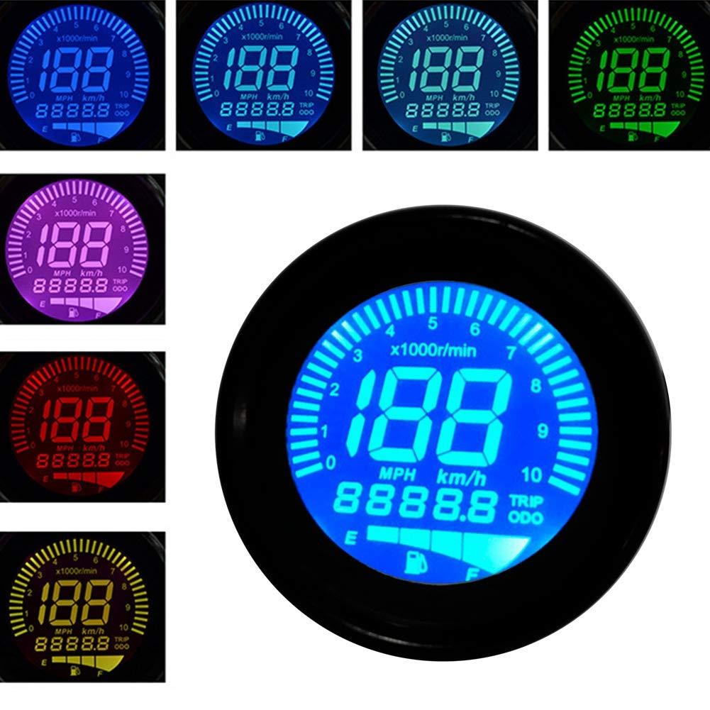 Motorbike Instrument Display Oil Level Meter LCD Gauge Universal digital Motorcycle Odometer Tachometer Speedometer 0-199km//h Aramox Motorcycle Tachometer 29.99