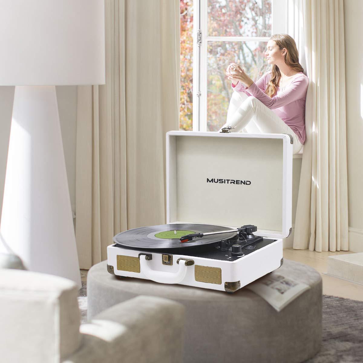 MUSITREND Tocadiscos 33/45/78 RPM, Maleta Portátil con 2 Altavoces Integrados, con RCA, Auriculares y Line in Montado, Blanco