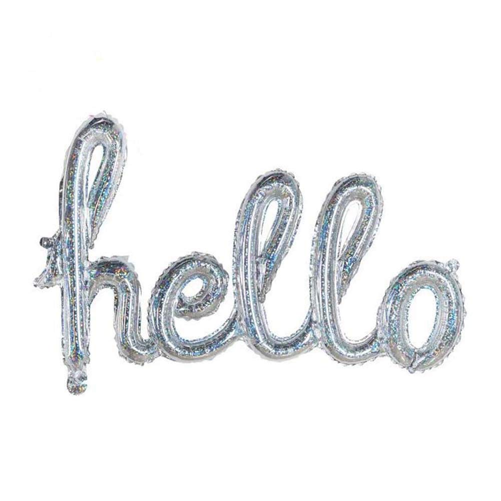 JUNDA Hello Letter Foil Ball Balloons One-Piece Alphabet Balloons for Wedding Birthday Baby Shower Party Decoration,Pack of 6(Silver)