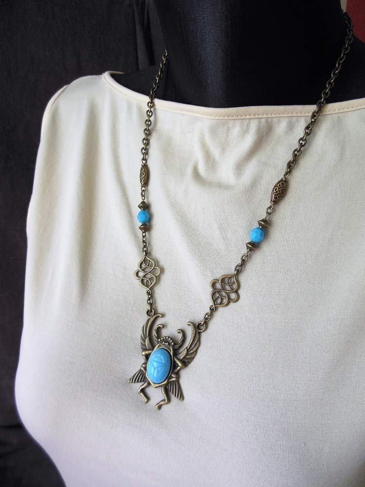 collier /égyptien grand scarab/ée bronze et perles turquoise