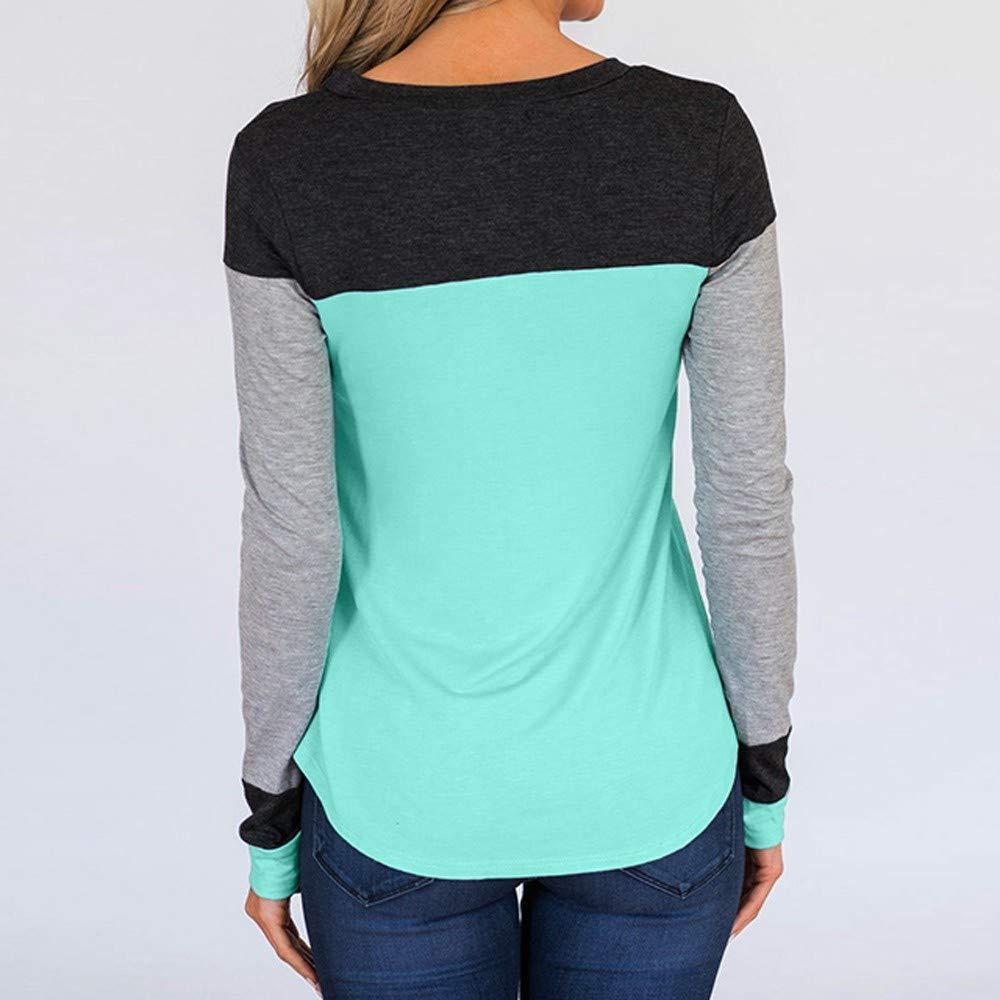 STORTO Women Patchwork Turtleneck Tops Long Sleeve Loose Casual Shirt Blouse