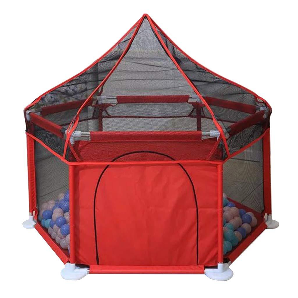 赤ちゃんのベビーサークル、子供用プレイテント、幼児用アクティビティセンター通気性メッシュ取り付けが簡単、安全柵、蚊保護、128x66.5cm  Red B07TQ193XD