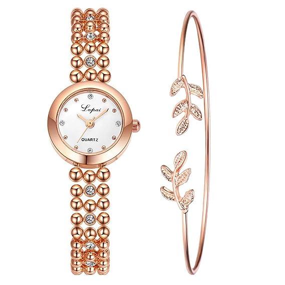 557a378fe POJIETT Relojes Mujer Conjunto de Reloj y Pulsera Reloj Dorado Mujer  Conjunto Reloj Marea Niña Reloj Analogico de Cuarzo Ragalos Joyas para  Mujer Reloj ...