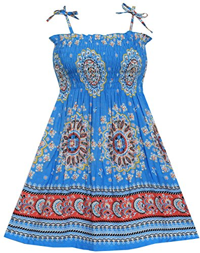 - Sunny Fashion HH53 Girls Dress Smocked Halter Paisley Blue Size 6