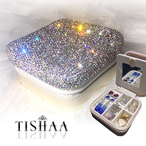TISHAA Bling Luxury Fancy Diamond Jewelry & Accessory Holder Pouch, Travel Portable PU leather Organizer Case w Compartments for Jewelry,Hair Pins (White)