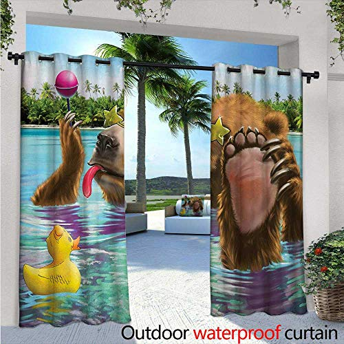 - Animal Outdoor Privacy Curtain for Pergola W84 x L96 Happy Fancy Wild Bear in The Sea by The Beach with its Sunglasses Candies Print Thermal Insulated Water Repellent Drape for Balcony Multicolor