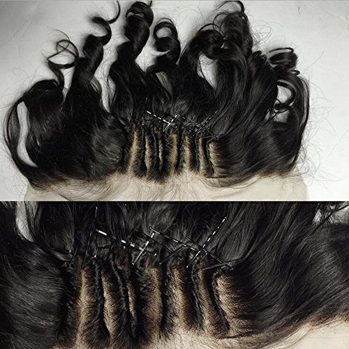 13X4 Full Lace Frontal Closure Ear to Ear Three Part Free Part Middle Part Loose Wave Brazilian Virgin Hair Extensions Human Hair Lace Front Closure with Baby Hair Bleached Knots (20inch, Free Part)
