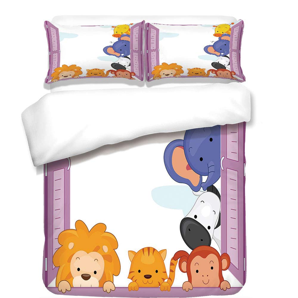 iPrint 3Pcs Duvet Cover Set,Zoo,Cute Colorful Animals Peeping at Pink Window Cartoon Frame Cat Monkey Lion Elephant Decorative,Multicolor,Best Bedding Gifts for Family/Friends