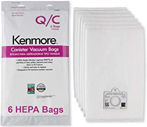Kenmore HEPA Vacuum Bags C Q - Kenmore and Sears Style Q/C Bags for Canister Vacuum Cleaners. Also Fits Kenmore 5055, 50557, 50558. Part Number 20-53292. Package of 6 Premium HEPA Synthetic Bags.