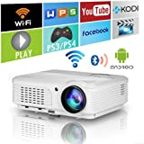 Home Wifi Projector with Bluetooth 4400 Lumens,Wxga HD LED LCD Movie Theater Projectors Wireless HDMI USB VGA AV Audio…