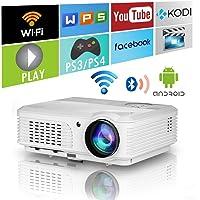 Home Wifi Projector with Bluetooth 4400 Lumens,Wxga HD LED LCD Movie Theater Projectors Wireless HDMI USB VGA AV Audio…