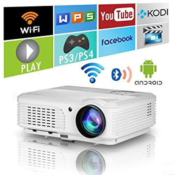 HD Smart LED Wireless Home Theater Android Projector with Bluetooth,3600 Lumen Widescreen LCD WXGA HDMI Video Projector Wifi Airplay 1080P Portable ...