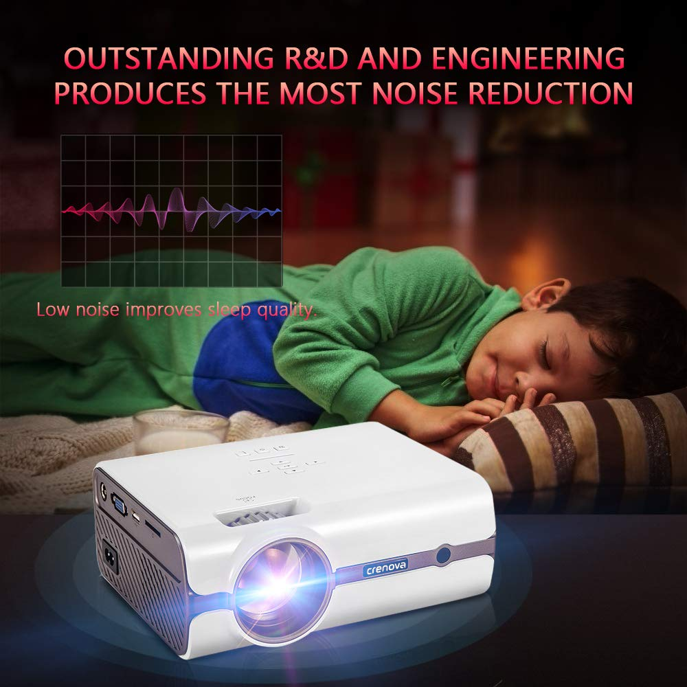 Crenova Upgraded 80 Lumens LED Portable Projector with Carrying Box 1080P Supported HD Home
