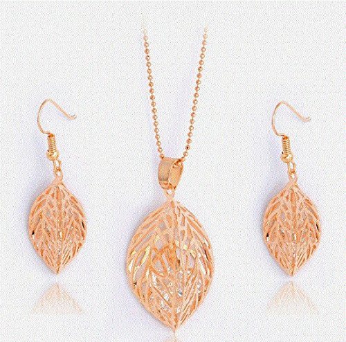 Teardrop Swarovski Crystal On 18k Gold Plated Leaves Set Crystal Earrings Pendant (Mistral Set Ring)