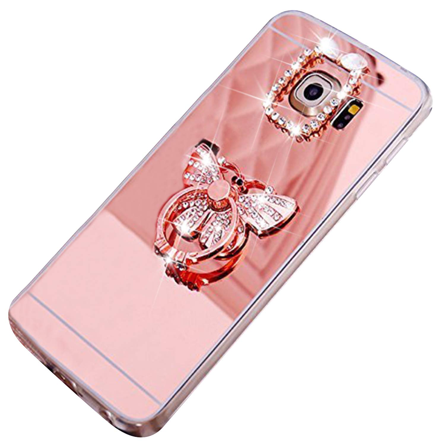 Coque Galaxy S6 Edge Plus, Coque Miroir pour Samsung Galaxy S6 Edge Plus, Ekakashop Ultra Mince Luxe Bling Bling Gliter Sparkle Couronne D'or Coque de Protection en TPU Silicone Crystal Clair Souple Gel Housse Coque Protecteur Back Cover Defender Bumper av