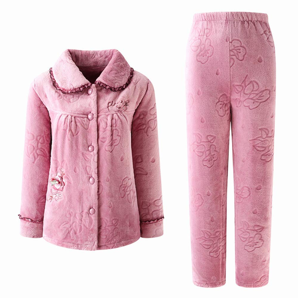 A Women's Flannel Pajamas TwoPiece Suit, Thick Warm Coral Fleece, Winter Cardigan Comfortable Warm Nightshirt