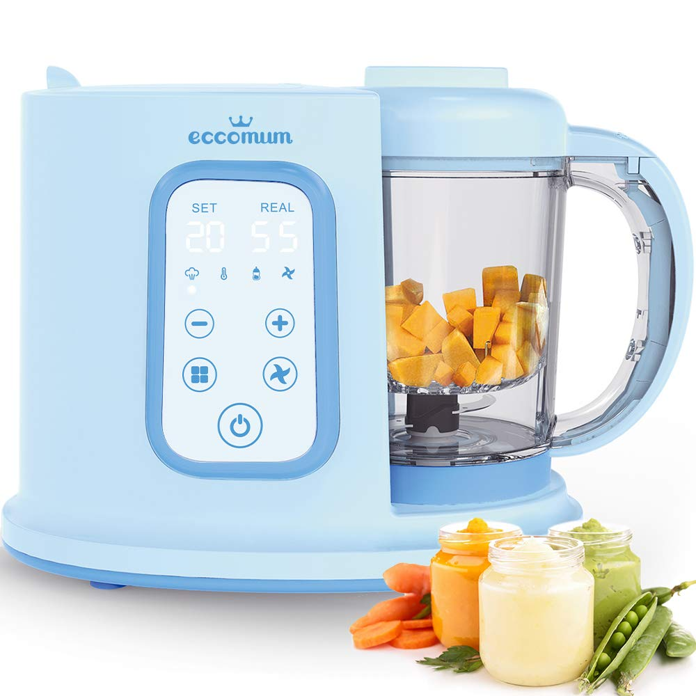 Baby Food Maker Eccomum Baby Food Processor Multi-Function Cooker and Blender to Steam and Puree Baby Food Warmer Mills Machine- 20 Oz Tritan Stirring Cup, Touch Control Panel, Auto Shut-Off by eccomum