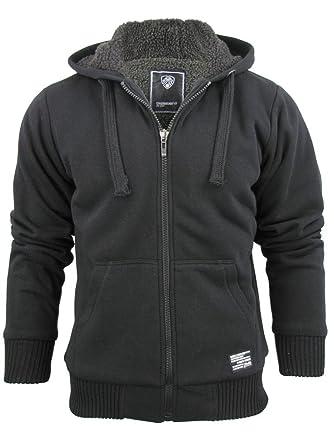 bd4c56f2137 Dissident Mens Hoodie Borg Lined Zip Though Sweatshirt Bolo  (Black ...