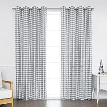 Best Home Fashion Classic Houndstooth Check Room Darkening Blackout Grommet Top Curtains
