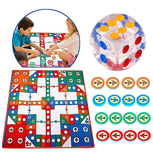 H&W Flying Chess Carpet, Flight Game, Aeroplane Chess Rug, Simple Ludo Parent-Child Game(WO1-D1)