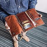 Handmade Vintage Leather Travel Wallet Passport Holder Secure Document Organizer iPhone Case Card Holder Men's Fashion Leather Clutch