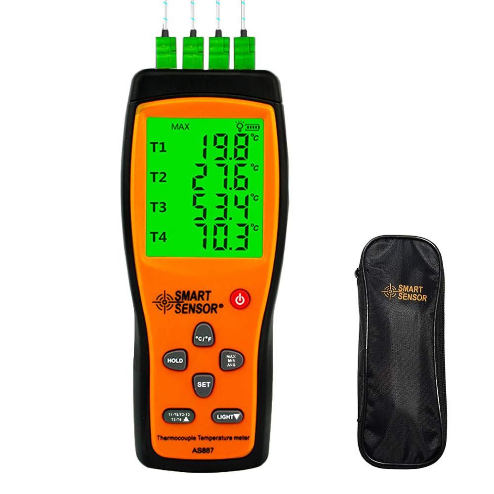 K Type Thermocouple Thermometer 4 Channel Digital Temperature Sensor Probe High Accuracy AS887