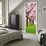 New!! ZOMUSA 3D Self-adhesive Cherry Blossoms Door Wall Mural Photo Wall Sticker Decal (Multicolor)