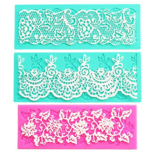 Set of 3, Rose Shaped Decorating Tools, Little Flowers Embossing Cake Lace Fondant Mold, Rattan Shaped Sugar Veil Cupcake Mat Silicone Molds for Cake Decorating or Arts, Crafts - By Sago Brothers