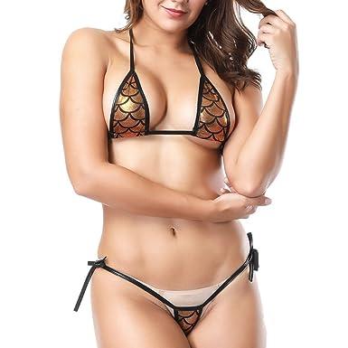 8d619e4b22389 Sexy Metallic Gold Micro Mini Bikini Swimsuit Elasticated Ties Size 8-12:  Amazon.co.uk: Clothing