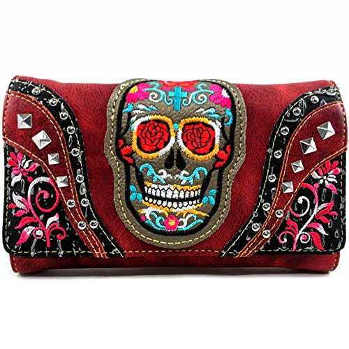 Concealed Carry Red Sugar Skull Purse