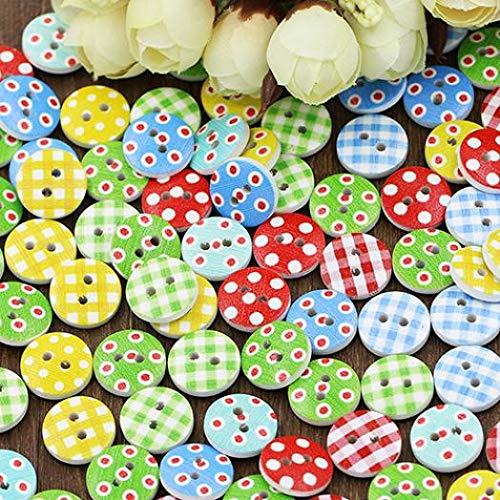 Scrapbooking bismarckber 100 Bottoni Rotondi in Legno per Cucito Fai da Te