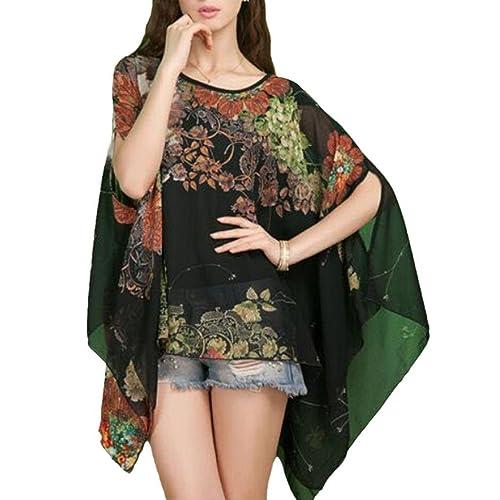 OUKIN mujer de flores Batwing manga gasa blusa Oversize Loose Túnica Tops