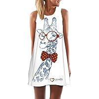 Sumen Women's Loose Summer Sleeveless Giraffe Print Tank Short Mini Dress