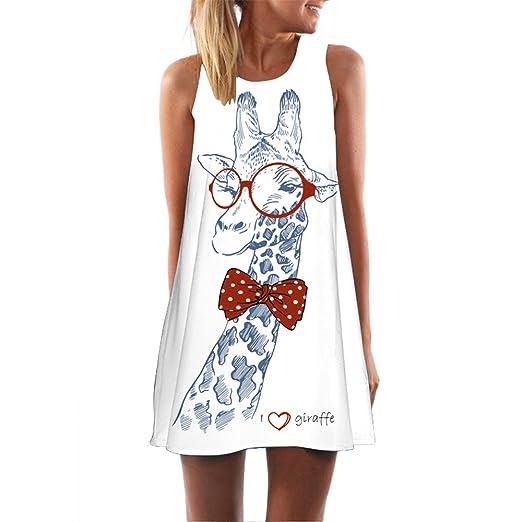 ab3be52e39 Hotkey® Clearance Women Dresses On Sale Giraffe Print Cocktail Party Evening  Mini Dress Beach Sundress