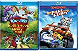 Tails of Tom and Jerry Animated Cartoon Movies Robin Hood Blu Ray & His Merry Mouse + The Fast and the Furry Feature Bundle 2 Movie Cartoon Set