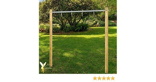 Balancín estructura de madera Columpio balancín doble con tubo de ...