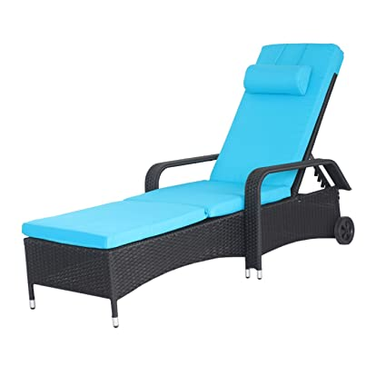 Incredible Meiyi Outdoor Patio Recliner Black Pe Wicker Chaise Lounge Chairs Adjustable Furniture Blue Cushions W Wheels Cjindustries Chair Design For Home Cjindustriesco