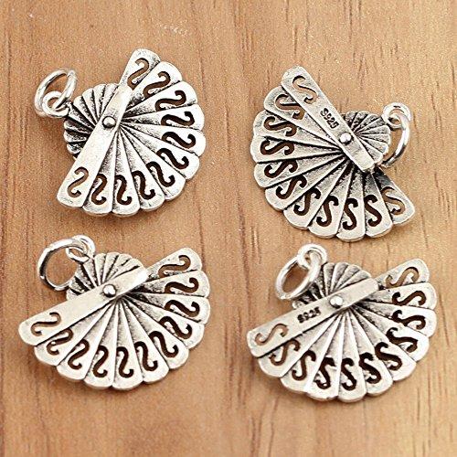 Silver Marcasite Flower Earrings - 4pcs 925 Sterling Folding Fan Charm Mini Pendant Antique Silver Findings