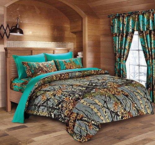 20 Lakes Hunter Camo Comforter, Sheet, Pillowcase Set (Queen, Gray/Teal) -