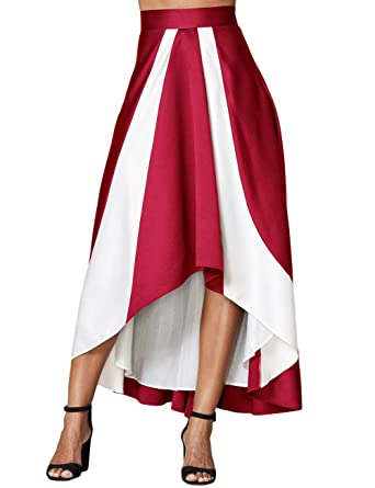 0edff79499 Alinemyer Women's Plus Size A Line Party Maxi Skirt High Waist High Low  Pleated Skirts Burgundy