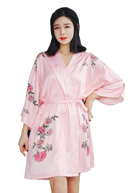 Mujer Batas Elegante Camisones Flor Estampadas con Cinturón Manga Larga Kimono Albornoz Pijama Clásico Mujeres (Color : Negro, Size : One Size): Amazon.es: ...