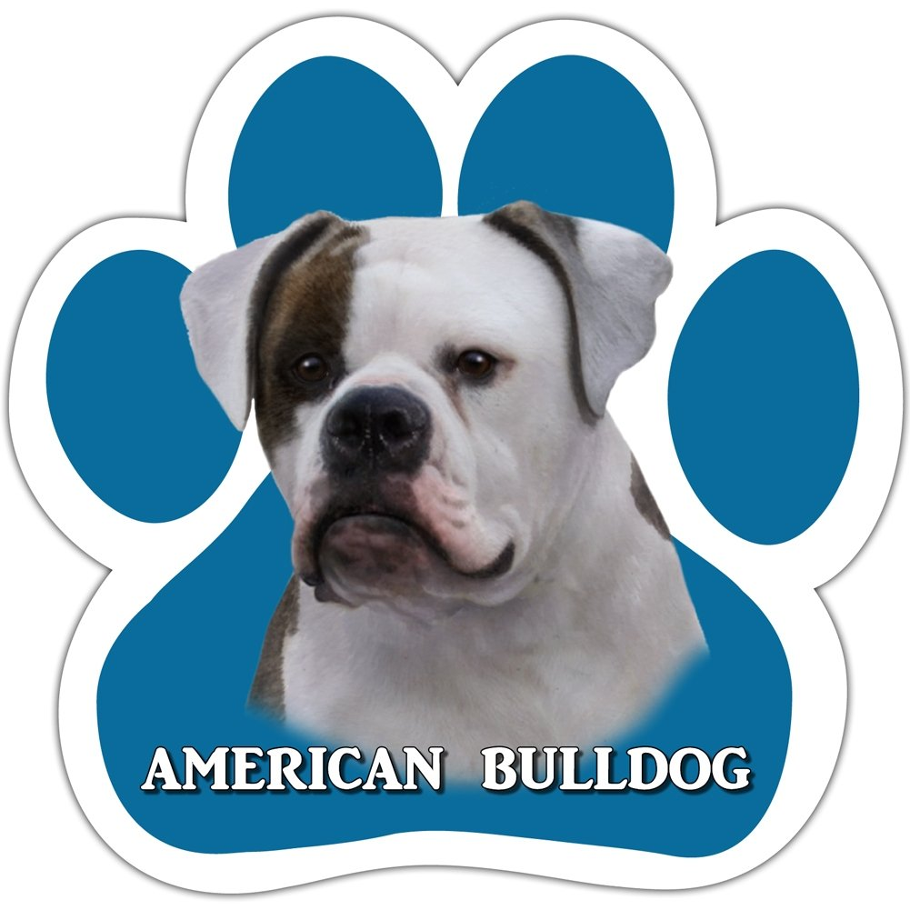 American Bulldog Car Magnet With Unique Paw Shaped Design Measures 5.2 by 5.2 Inches Covered In High Quality UV Gloss For Weather Protection