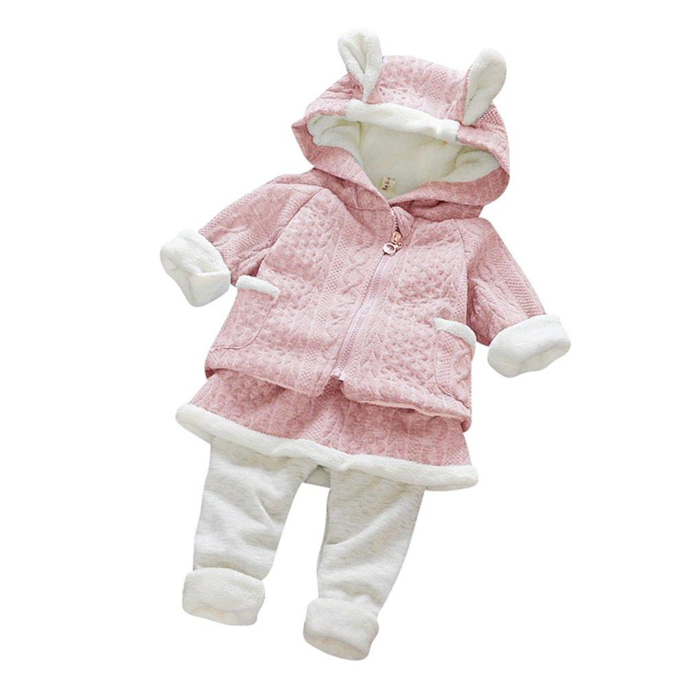 Natale Neonato Bambino 2pcs Set Abbigliamento Felpa Top con Cappuccio Pantaloni Coniglio Forma Invernale Abiti Set Azzurro 70
