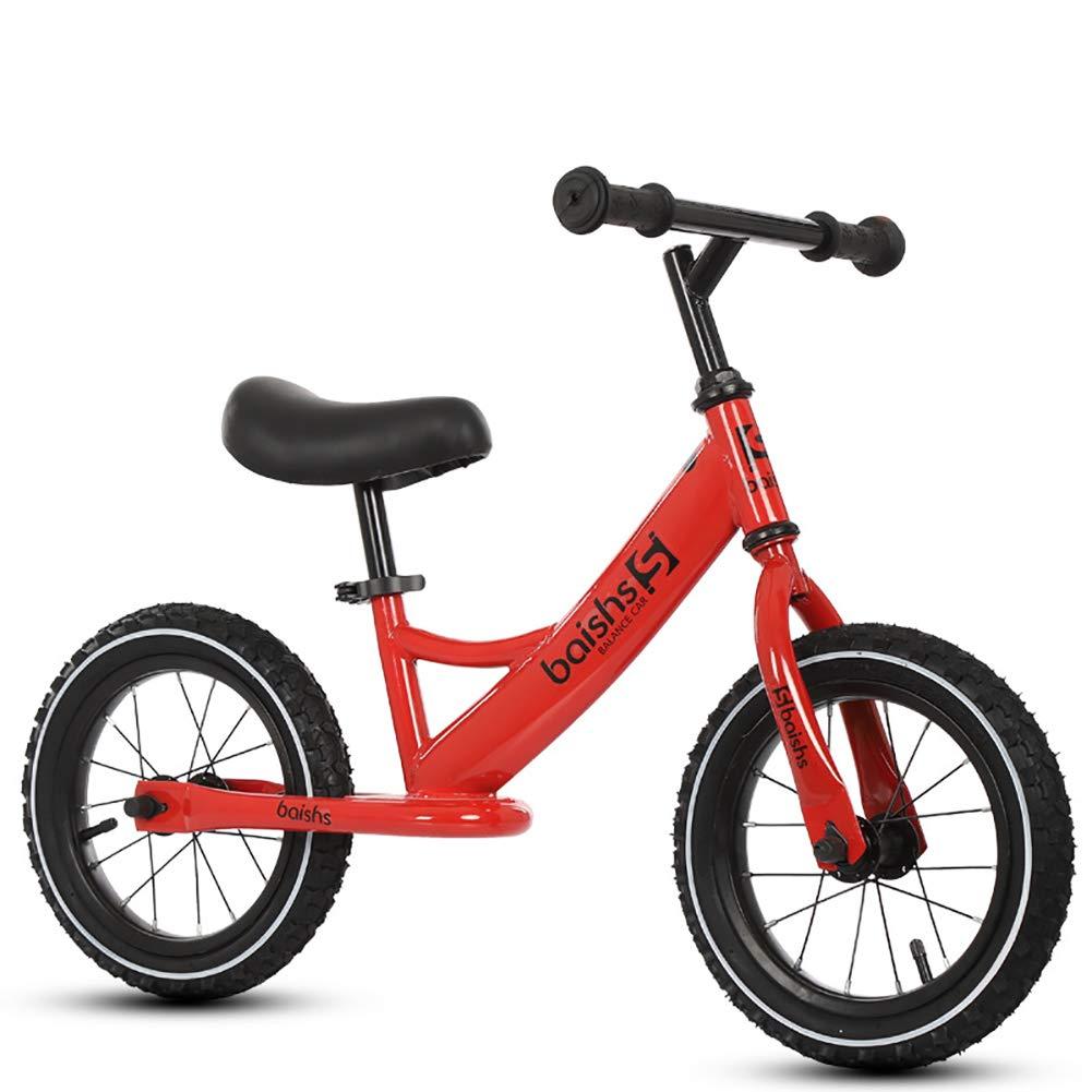 FJ-MC Unisex Laufrad, Kein Pedal Walking-Trainingsfahrrad, Einstellbare Sitzhöhe mit 12 Gummireifen, für 2-6 jährige Kinder,Blau rot