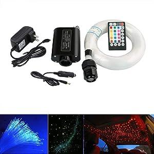 16W Fiber Optic Lights Star Ceiling Light Kit for Car & Home,Fibre Optical Cable Strands 150pcs 0.75mm 6.5ft/2m+28key Musical Remote Control