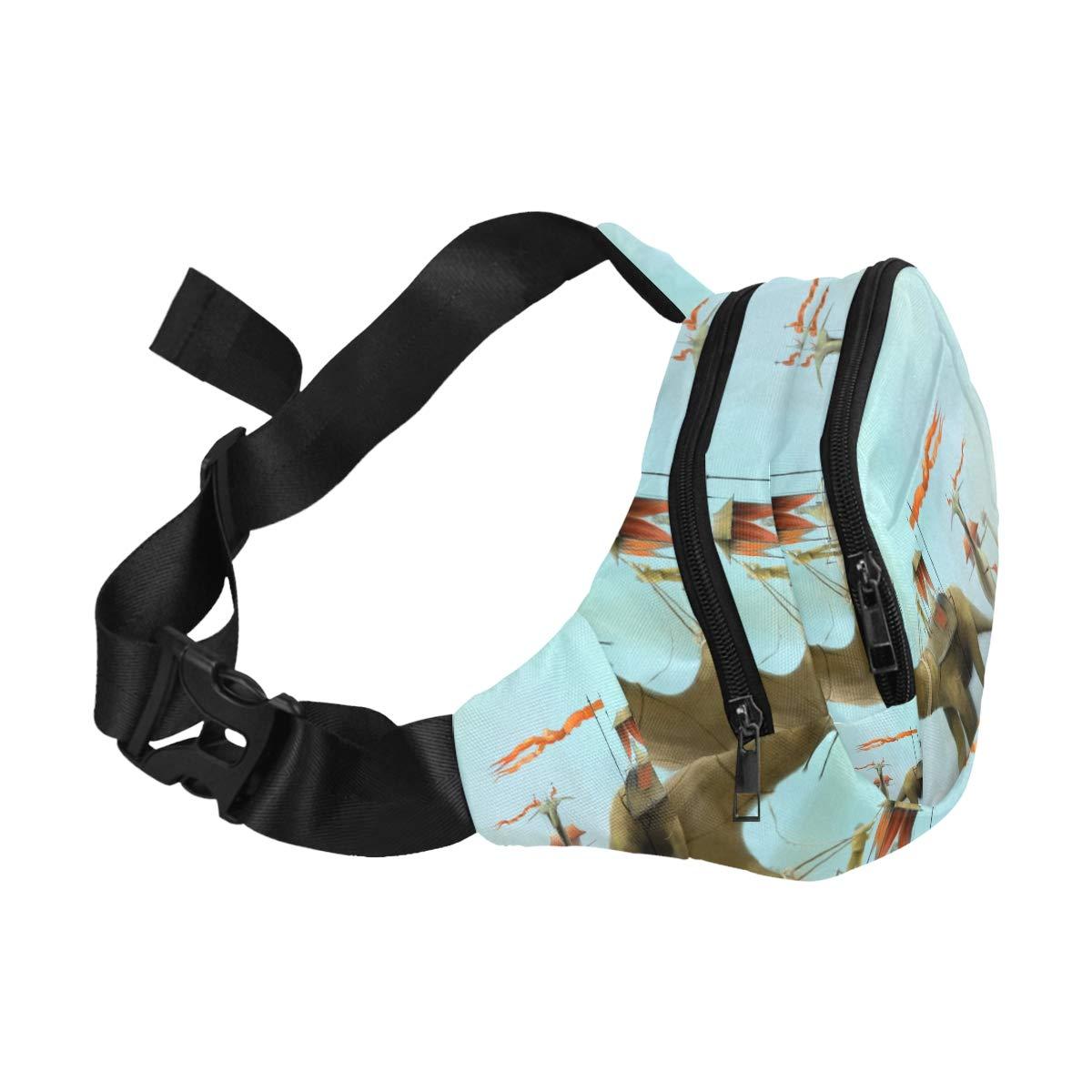 Fierce And Interesting Dinosaur Fenny Packs Waist Bags Adjustable Belt Waterproof Nylon Travel Running Sport Vacation Party For Men Women Boys Girls Kids