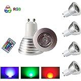HHD® Lot de 4 RGB Ampoule LED 3W 16 Couleurs Changement Coloré RGB LED Bulb 250-270LM LED avec Télécommande à Boutons AC95-240V [Classe énergétique A+]